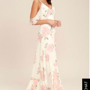 LULU'S TAKE YOU THERE IVORY FLORAL PRINT MAXI